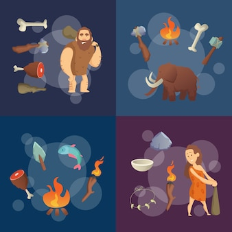 Stone age elements. vector cartoon cavemen illustration