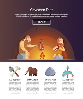 Stone age family. vector cartoon cavemen template illustration