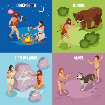 Stone age isometric concept icons set with games and drawings symbols isolated