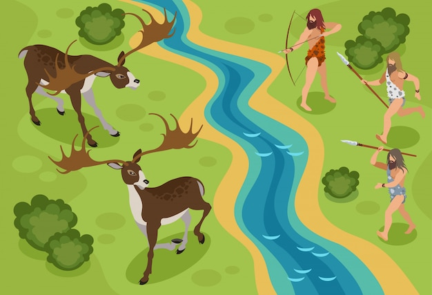 Stone age isometric  with hunting deer symbols