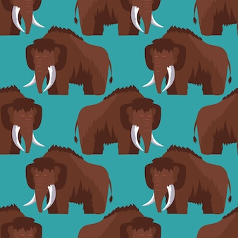 Stone age mammoth seamless pattern