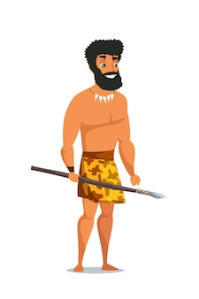 Stone age man with spear, primitive ancient male character.