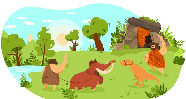 Stone age people with pet animal, mammoth and dinosaur on leash, funny  illustration