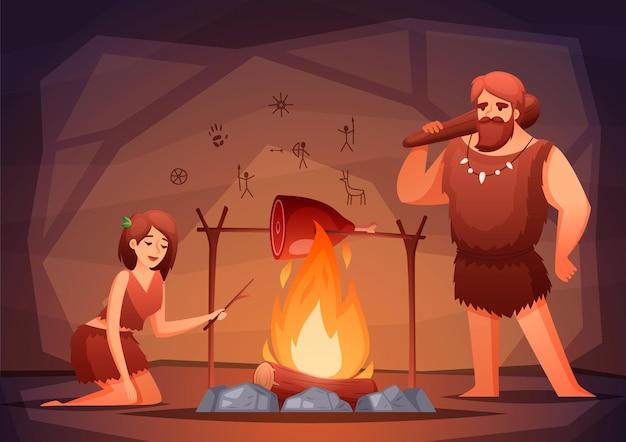 石器時代の先史時代の家のインテリアフラット構図イラスト