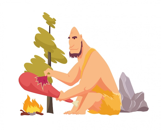 Stone age primitive man in animal hide pelt cooking meat food on fire. flat style vector illustration isolated