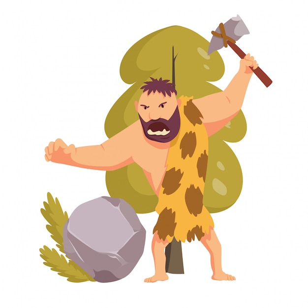 Stone age primitive man with stone hammer.