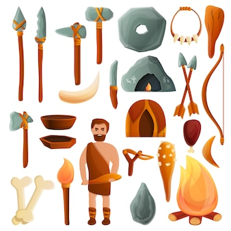 Stone age set, cartoon style