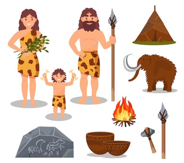 石器時代のシンボルセット、原始的な人々、マンモス、武器、白い背景の上の先史時代の家のイラスト