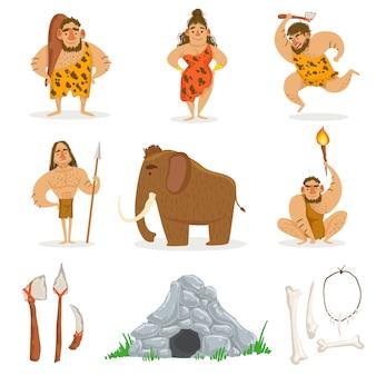 石器時代の部族の人々と関連オブジェクト