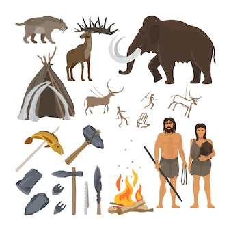 Stone age vector isolated on white background