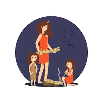 石器時代の女性と少女たちが火をつける