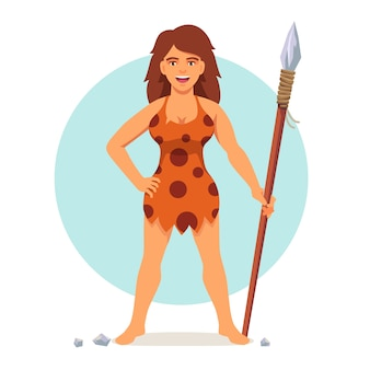 Stone age woman in animal hide pelt