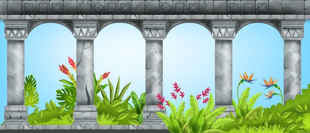 Stone ancient arch vector marble pillar background green tropical garden paradise flower bush