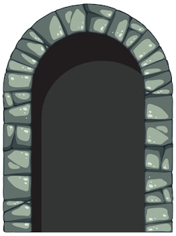 Каменная арка в мультяшном стиле на белом фоне