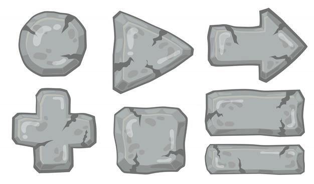 石の矢印と標識セット