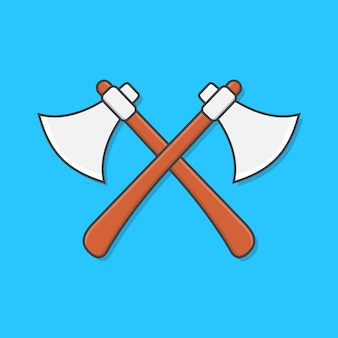 青で分離された石の斧交差