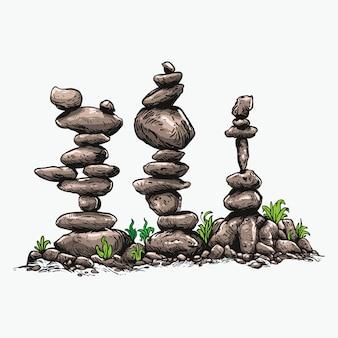 Stone balancing   art illustration