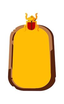 Tavola di pietra o tavoletta di argilla vuota con scarabeo e illustrazione vettoriale di fumetto egiziano oggetto antico per la registrazione di informazioni, interfaccia utente grafica per game design su bianco