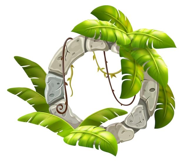 석판 장식 등나무 잎.