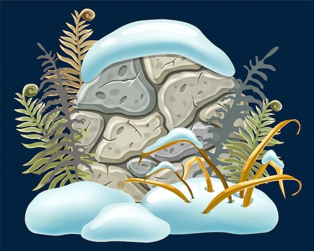 Cumuli di neve di decorazione del bordo di pietra.