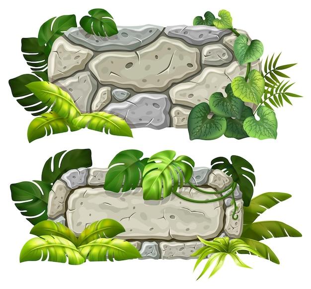 석재 보드 장식 등나무 잎
