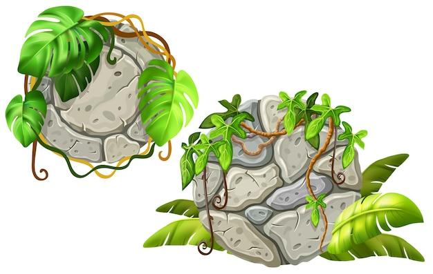 Украшение каменных досок листьями лианы