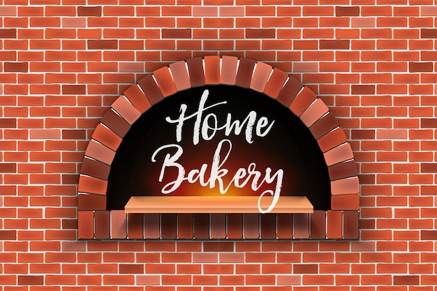 Stone brick, pizza firewood oven, home bakery.
