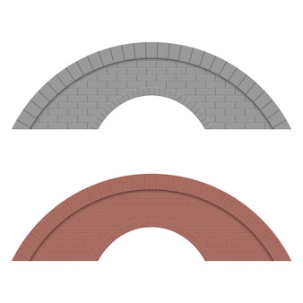 白い背景に分離された石の橋の設計図