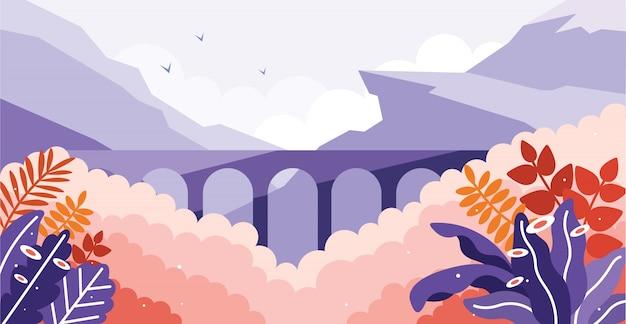 Stone bridge railway in the wild illustration