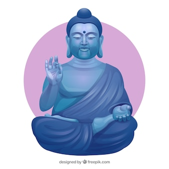Stone budha with flat design