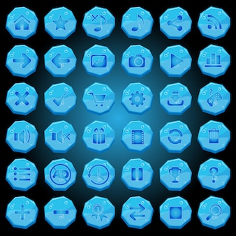 Stone buttons icons set for game interfaces blue light.