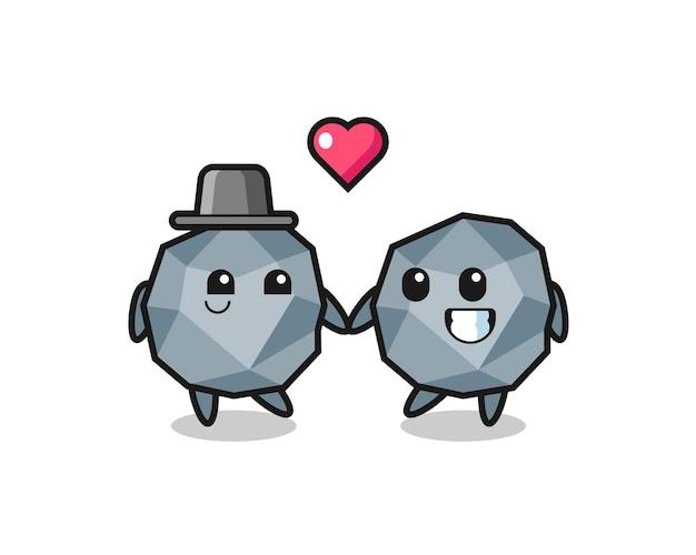 Каменная мультипликационная пара персонажей с жестом влюбленности, милый стиль дизайна для футболки, наклейки, элемента логотипа