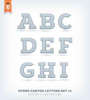 Каменные резные буквы, цифры и символы гарнитуры. иллюстрации.