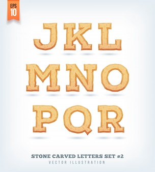 Stone carved letters, numbers and typeface symbols.  illustration.