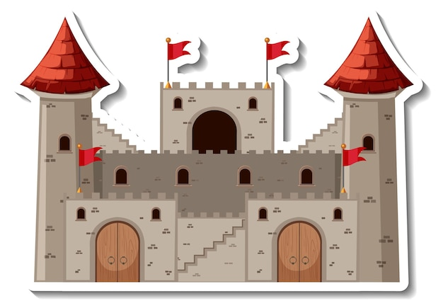 石の城と要塞の漫画のステッカー