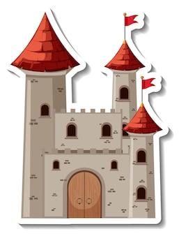 Adesivo cartone animato castello e fortezza di pietra