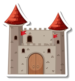 Stone castle and fortress cartoon sticker