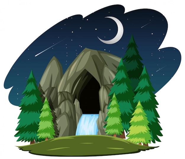 Stone cave in the night scene isolated on white background