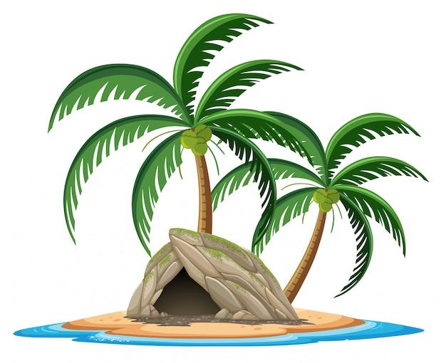 白い背景の上の熱帯の島の漫画のスタイルの石の洞窟