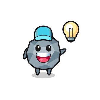 Stone character cartoon getting the idea , cute style design for t shirt, sticker, logo element