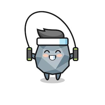 Каменный персонаж мультфильма со скакалкой, симпатичный дизайн для футболки, стикер, элемент логотипа