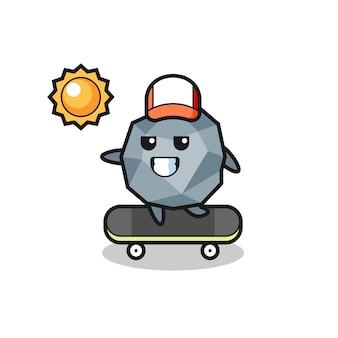 Каменная иллюстрация персонажа катается на скейтборде, милый стиль дизайна для футболки, наклейки, элемента логотипа