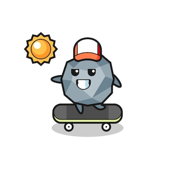 Stone character illustration ride a skateboard , cute style design for t shirt, sticker, logo element