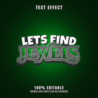 Stone diamond emerald text effect perfect for game title logo