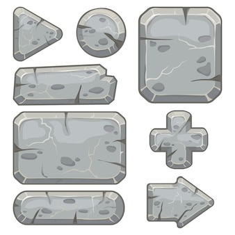 Stone frame. rubble rocks banner, stones block arrows and gravel rock tablet frames isolated  set