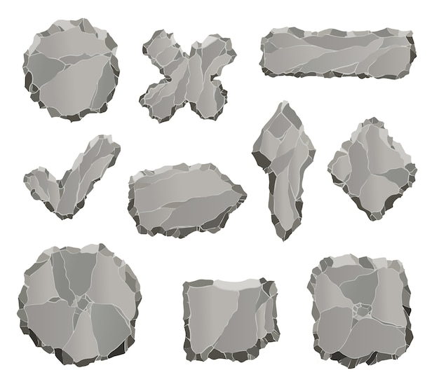 Stone game elements. cartoon rock ui elements like arrows and panels, frames and buttons for game design isolated on white.