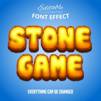 Stone game text, editable font effect