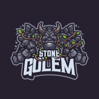 Логотип stone golem mascot для киберспорта и спортивной команды