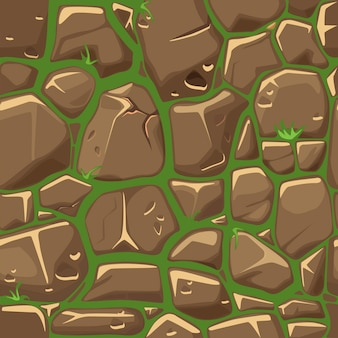 Stone on grass texture seamless pattern background