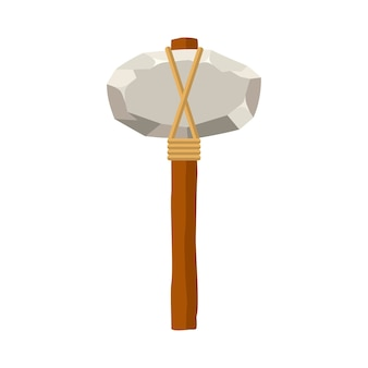Stone hammer or axe isolated on white background. ancient tool and weapon in flat style.
